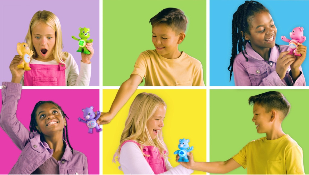 six kids playing with small Care Bears toys