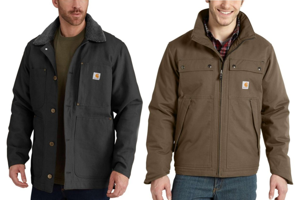 men wearing black and brown Carhartt coats