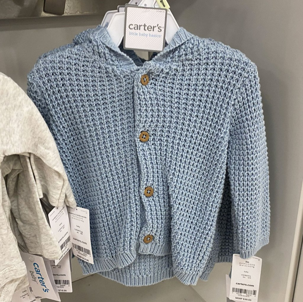 blue carter's button up baby cardigan