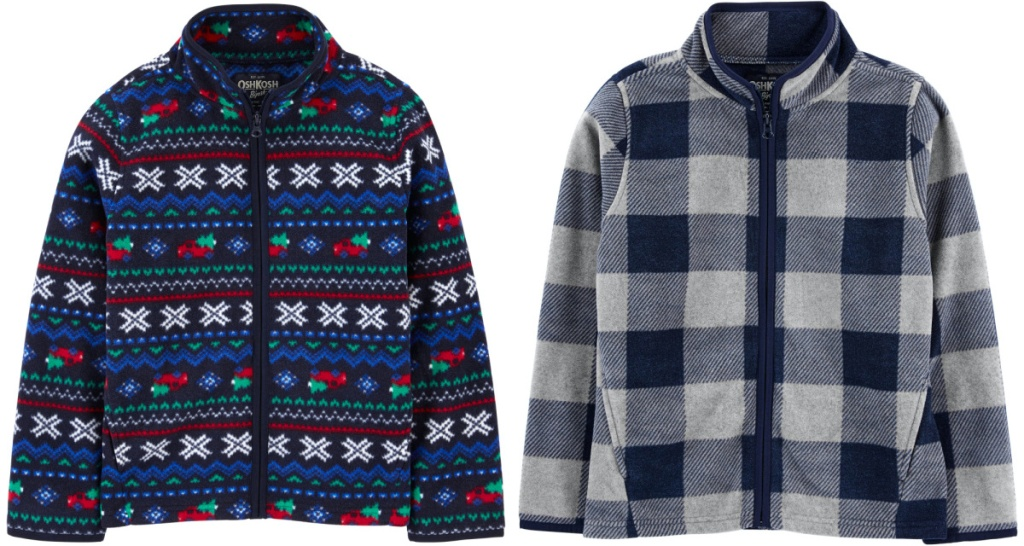 two blue printed boys fleece sweaters