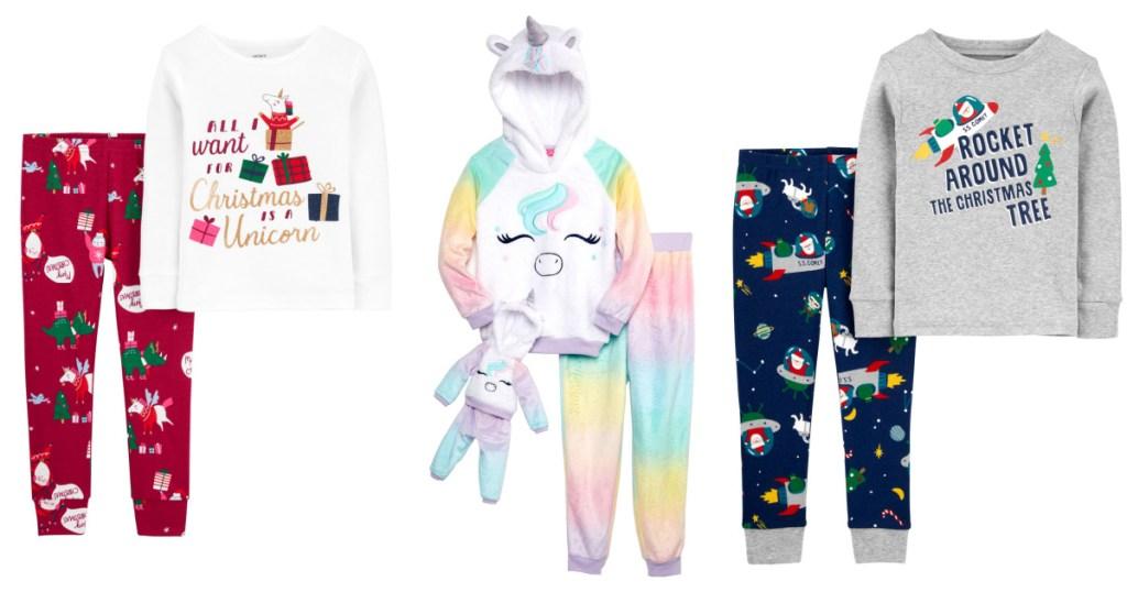 two Christmas pajama sets and doll pajama set
