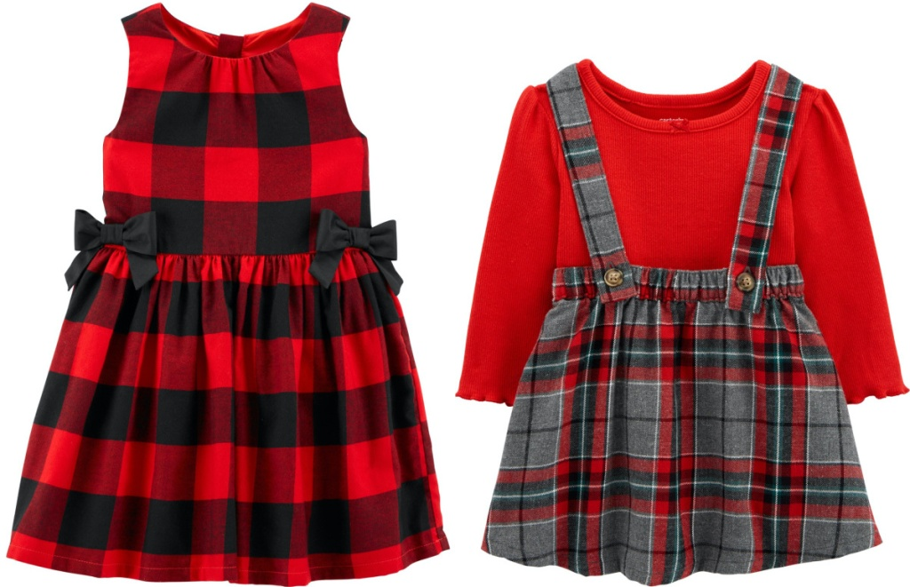two girls red and black plaid dresses