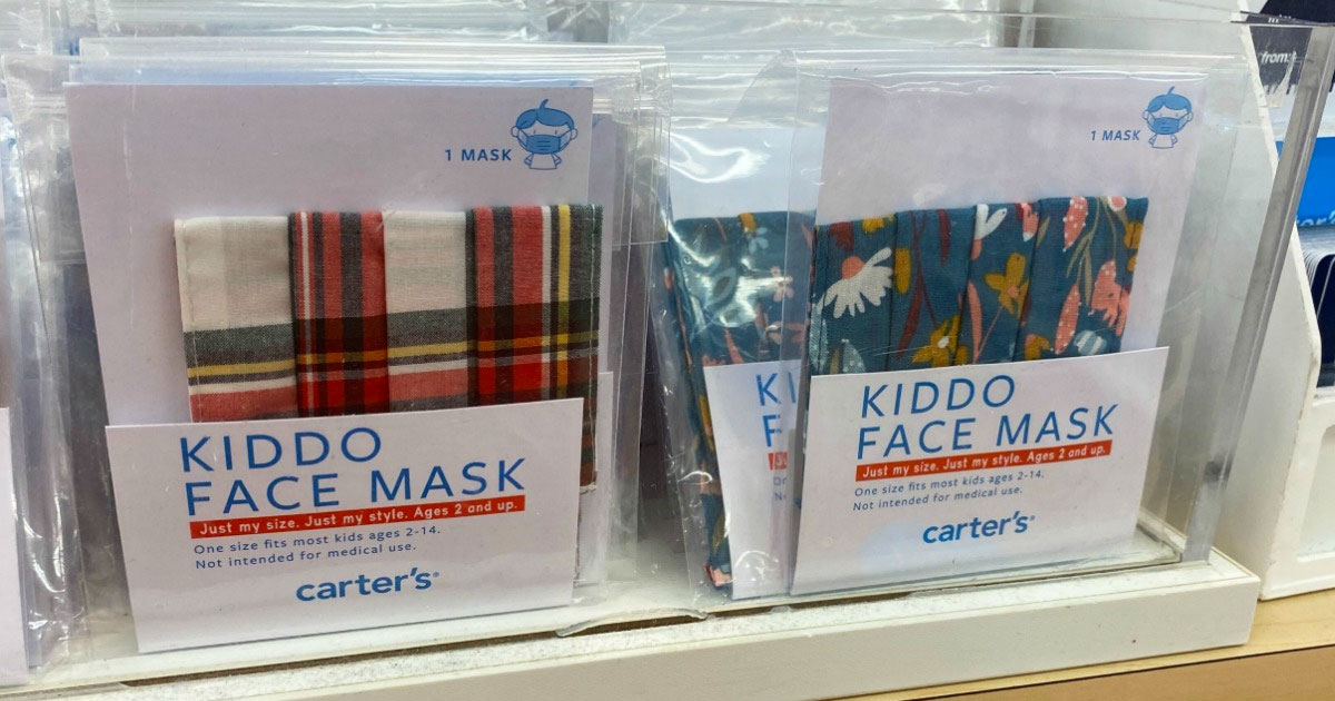 packages of carter's kids face masks on display at store
