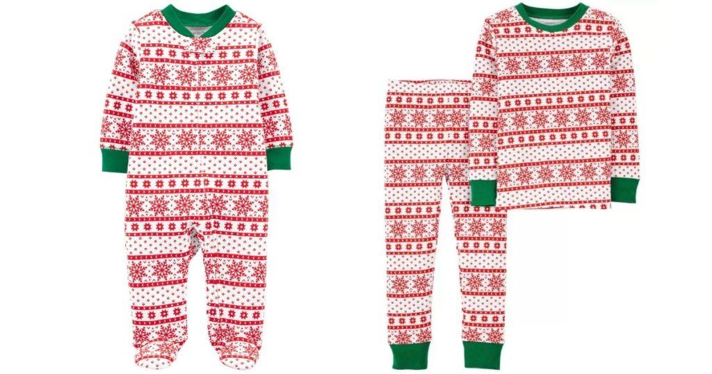 two pairs of matching pajamas
