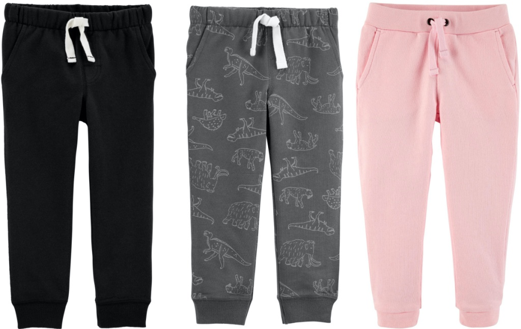 black, gray, and pink kids joggers