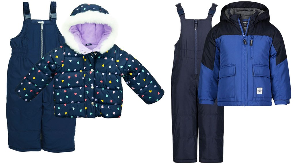 navy blue with rainbow hearts girls jacket and blue snowbib set and blues navy blue colorblock jacket and snowbib set