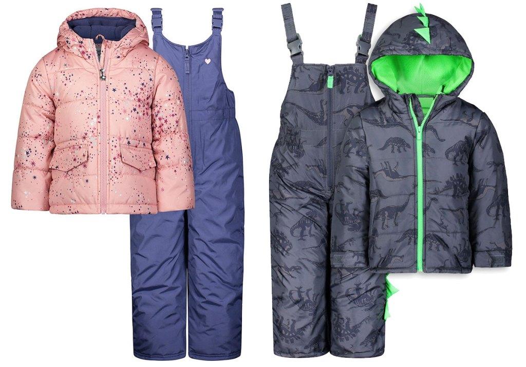 pink star print jacket with purple snow bib and grey dinosaur print boys jacket and snowbib set