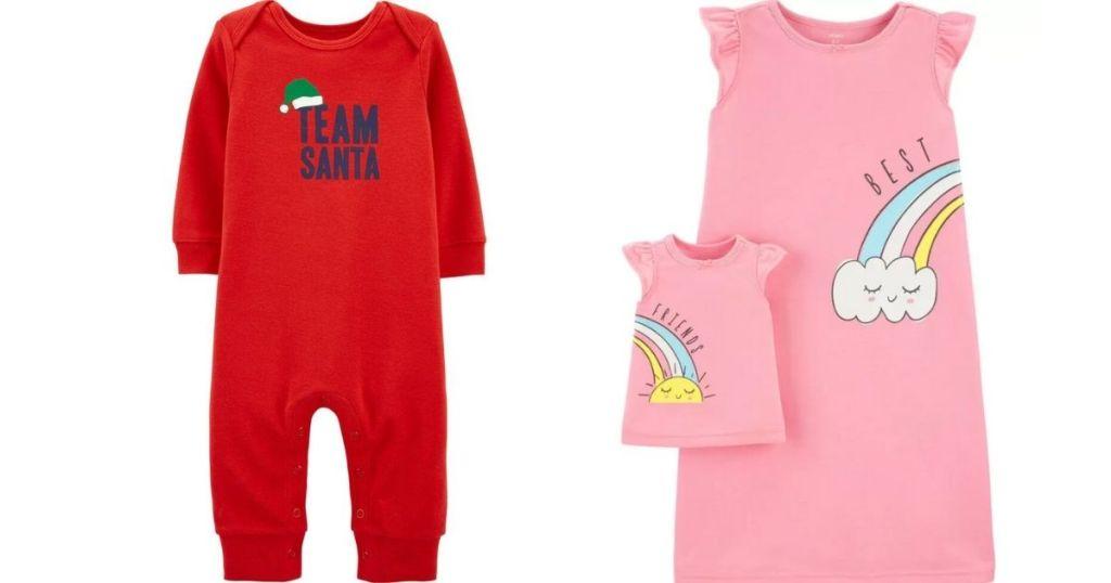 two pairs of Carter's pajamas