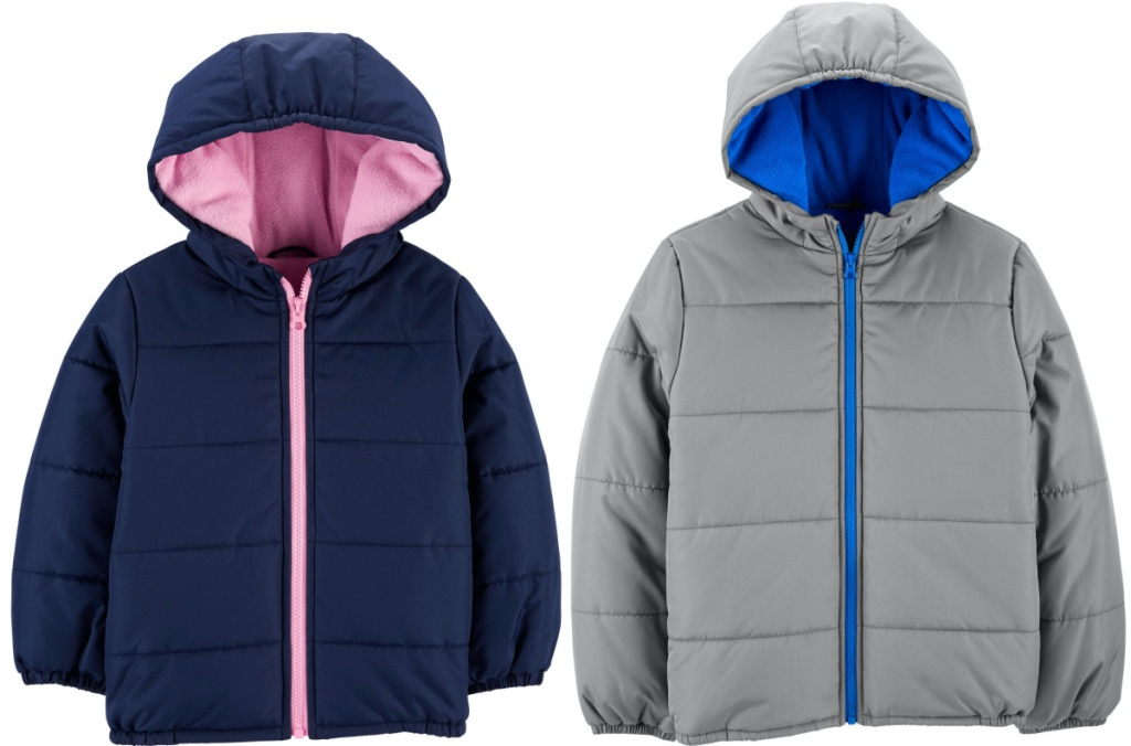 girls blue and pink puffer jacket, and boys gray and blue puffer jacket