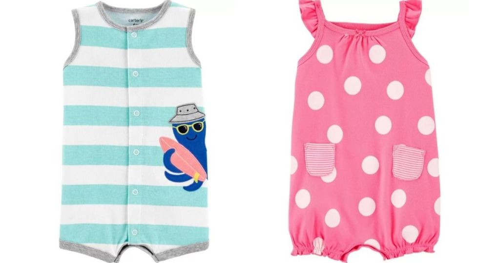 two Carter's rompers
