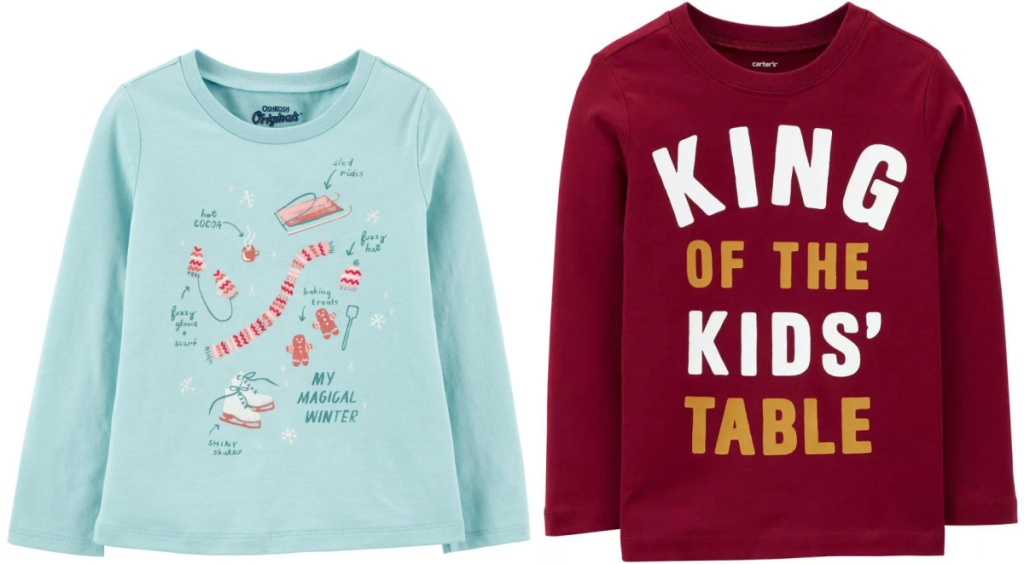 girls blue winter print tee and boys red graphic tee