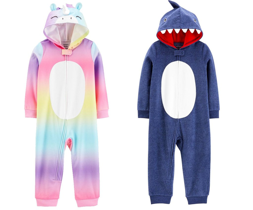 two toddler hooded one-piece pajamas in rainbow unicorn and blue shark styles