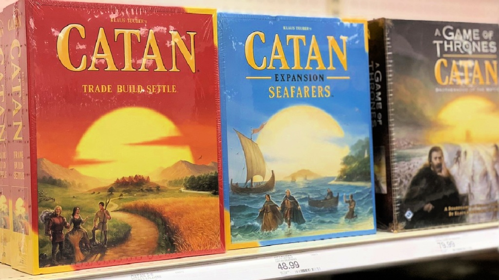 Catan board games on store shelf