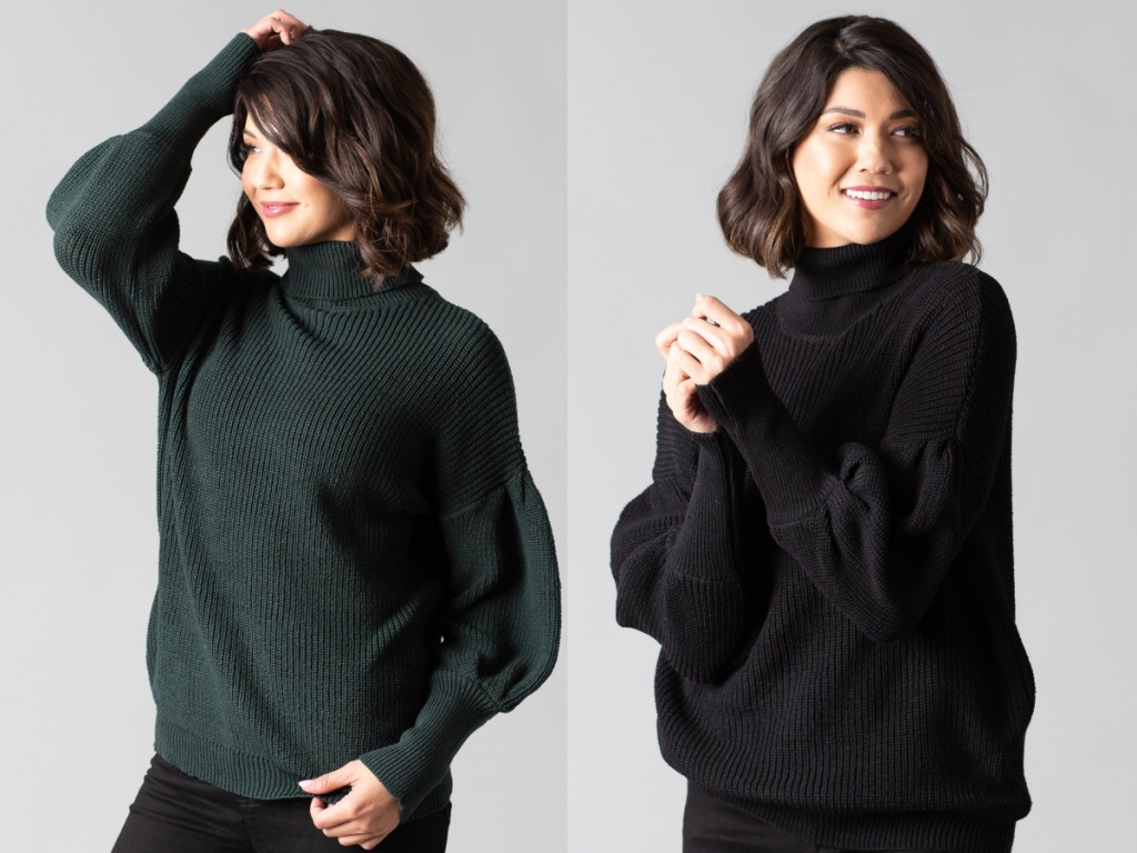 woman in green turtleneck sweater and woman in black turtleneck sweater