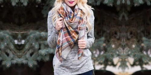Women's Plaid Blanket Scarf Only $9.99 (Regularly $25)