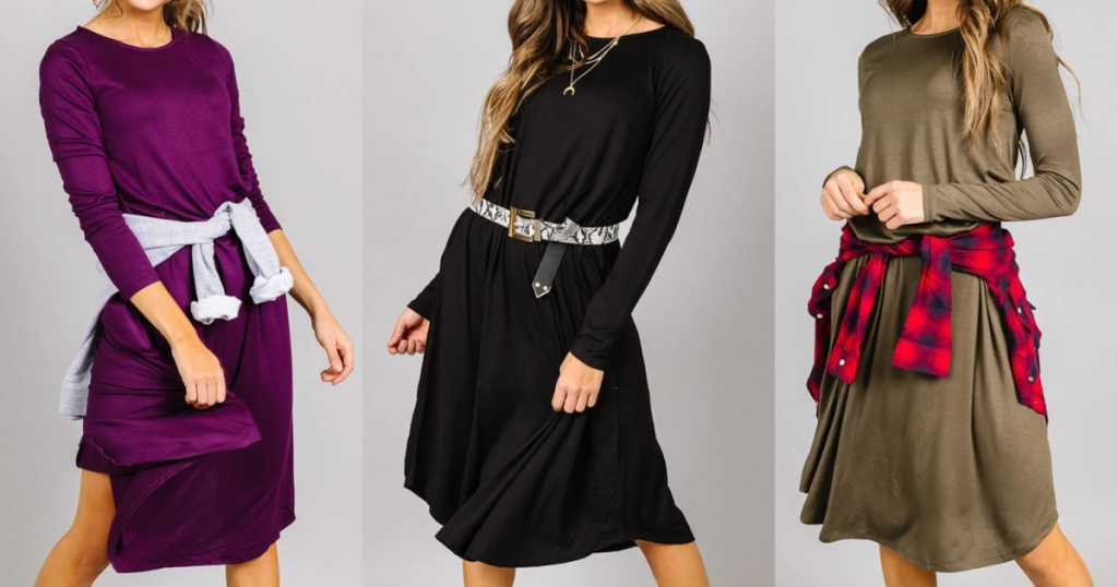 3 womens wearing colorful cents of style swing dresses