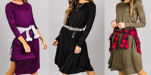 Long-Sleeve Swing Dress Only $12.99 (Regularly $25) | Includes Plus Sizes