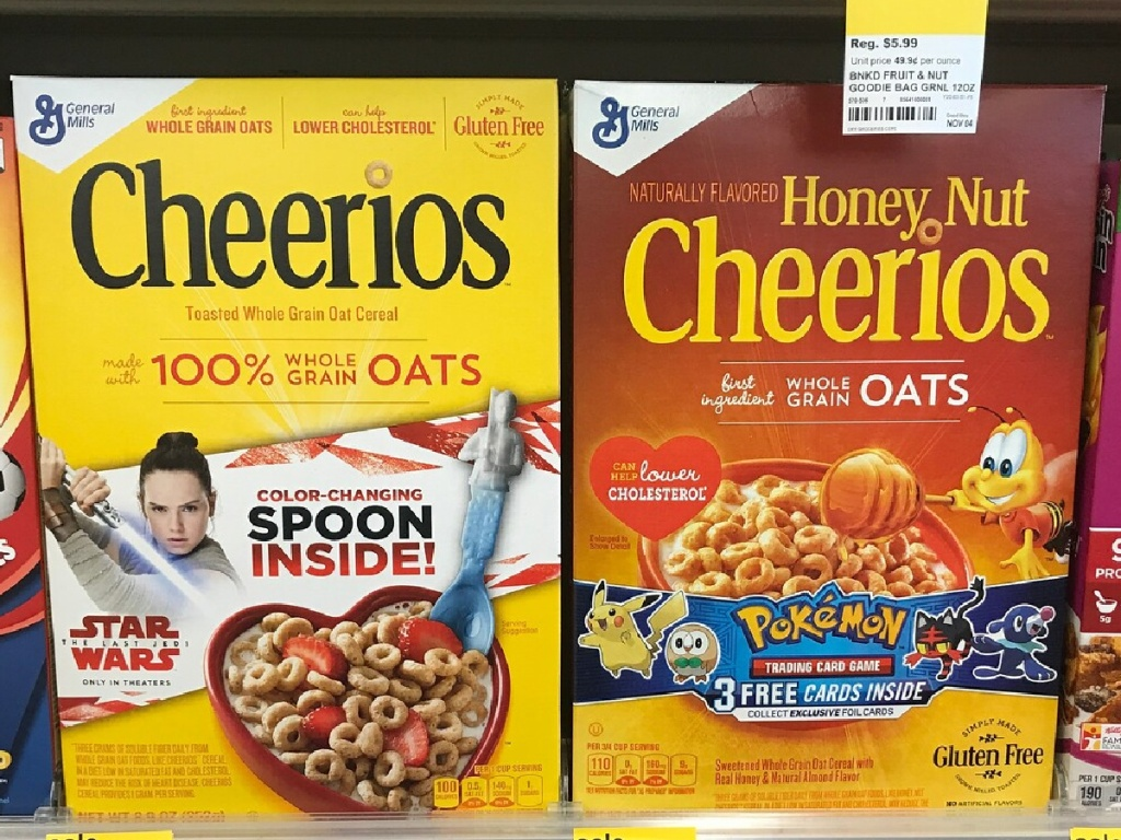 2 boxes of cheerios cereal on walgreens store shelf