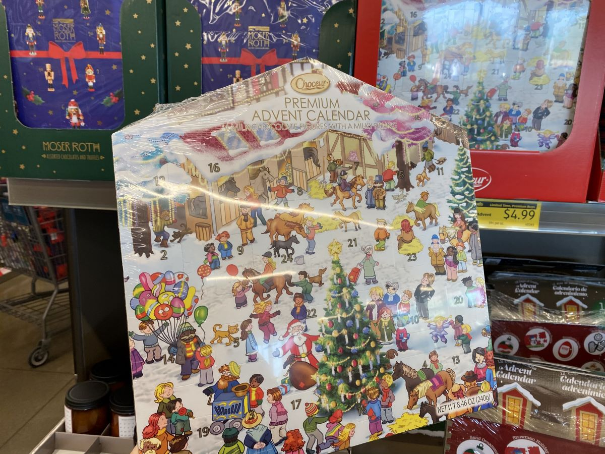 hand holding a Choceur Premium Chocolate Advent Calendar in store