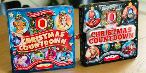 TWO Christmas Countdown Tins Only $13.98 Shipped   Disney & Marvel