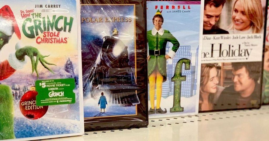 Christmas-Movies on shelf