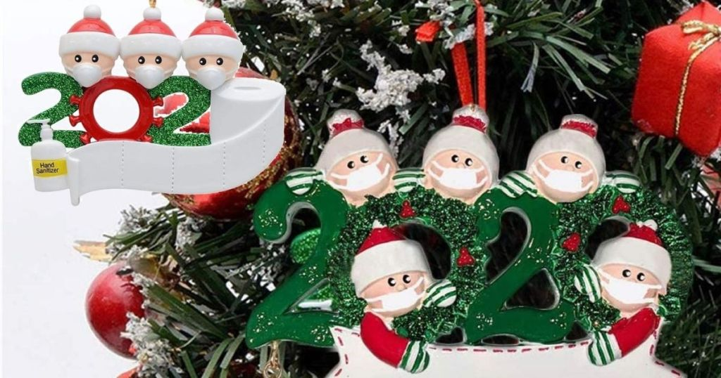 two ornaments on a tree