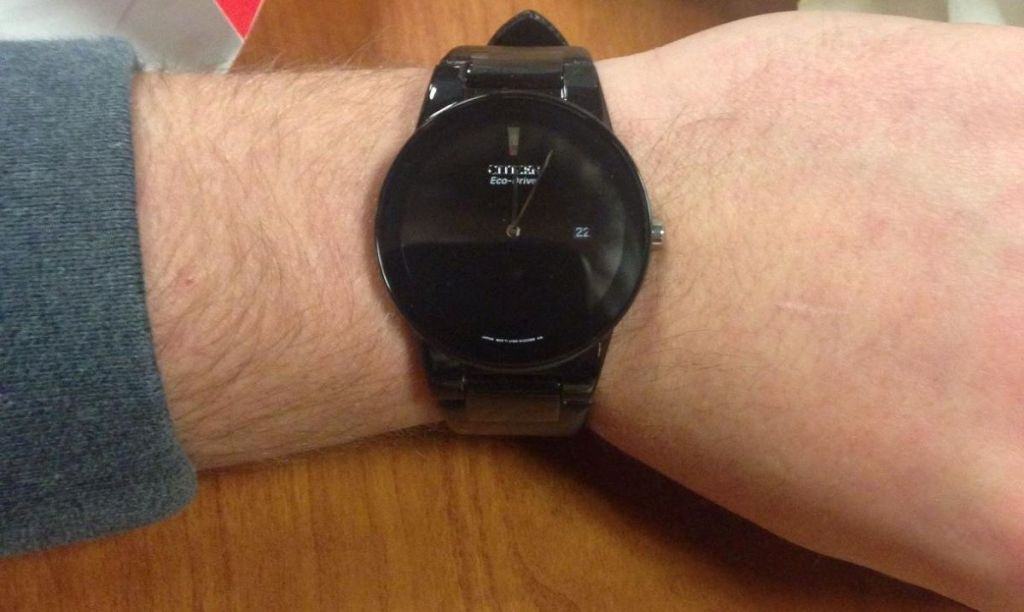 watch on a persons wrist