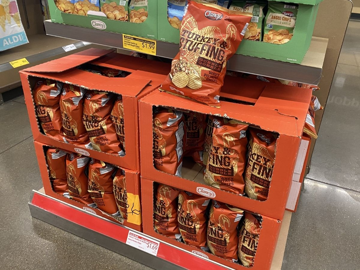 Clancy's Turkey and stuffing chips on display in store