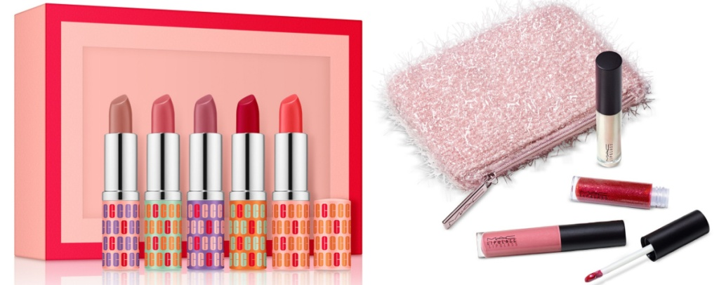 Clinique 5-Piece Kisses Gift Set and MAC 4-Piece Frosted Firework Fireworked Like A Charm Mini Lipglass Set