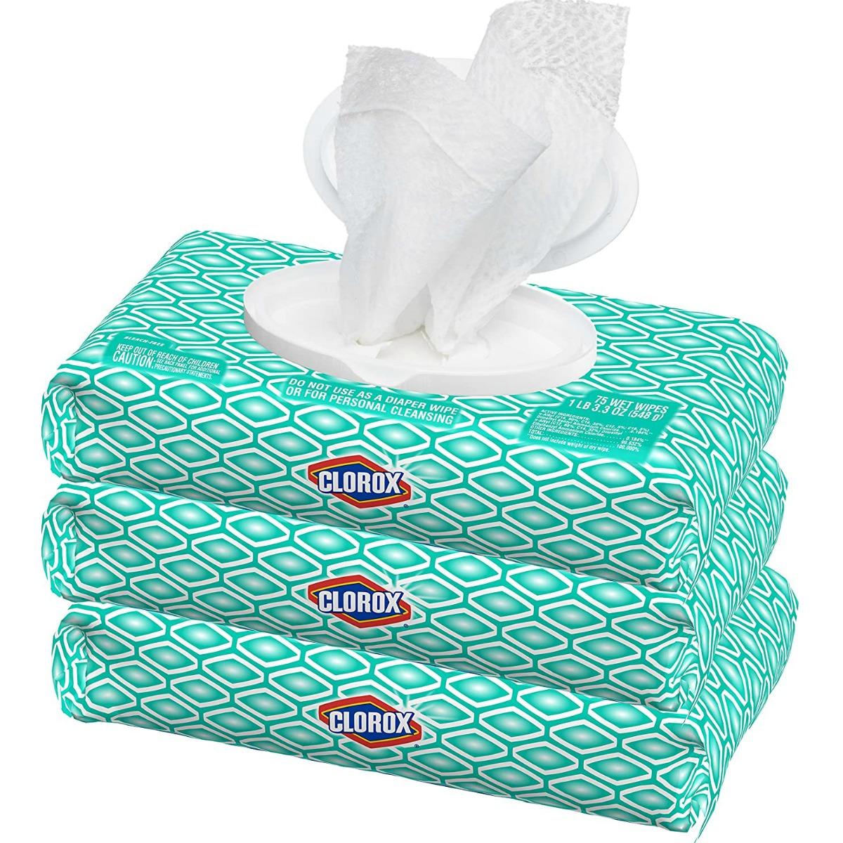 Stack of Clorox wipes packs