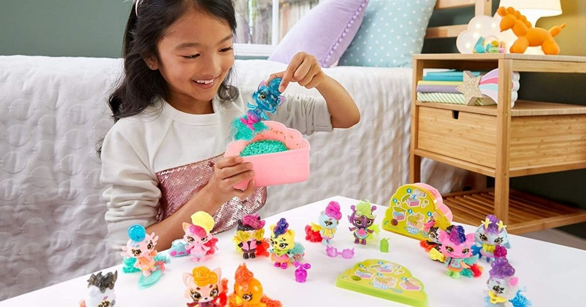 Little girl playing with Cloudees surprise toys