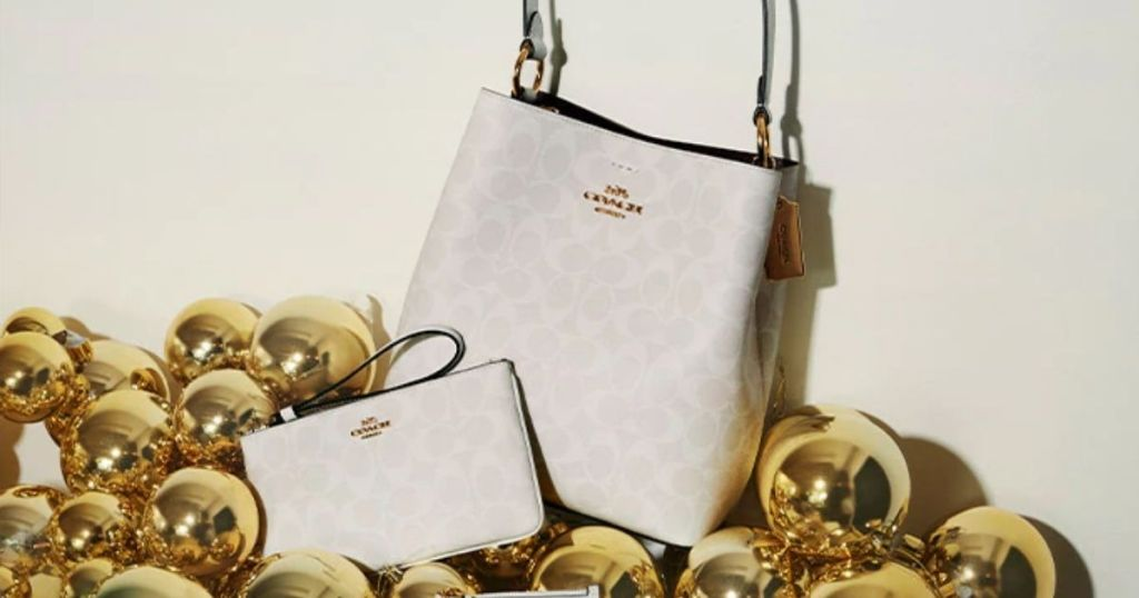 two Coach bags surrounded by ornaments