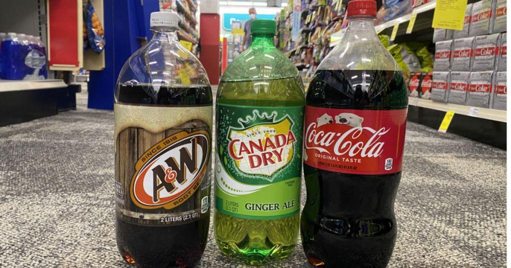 soda bottles on floor