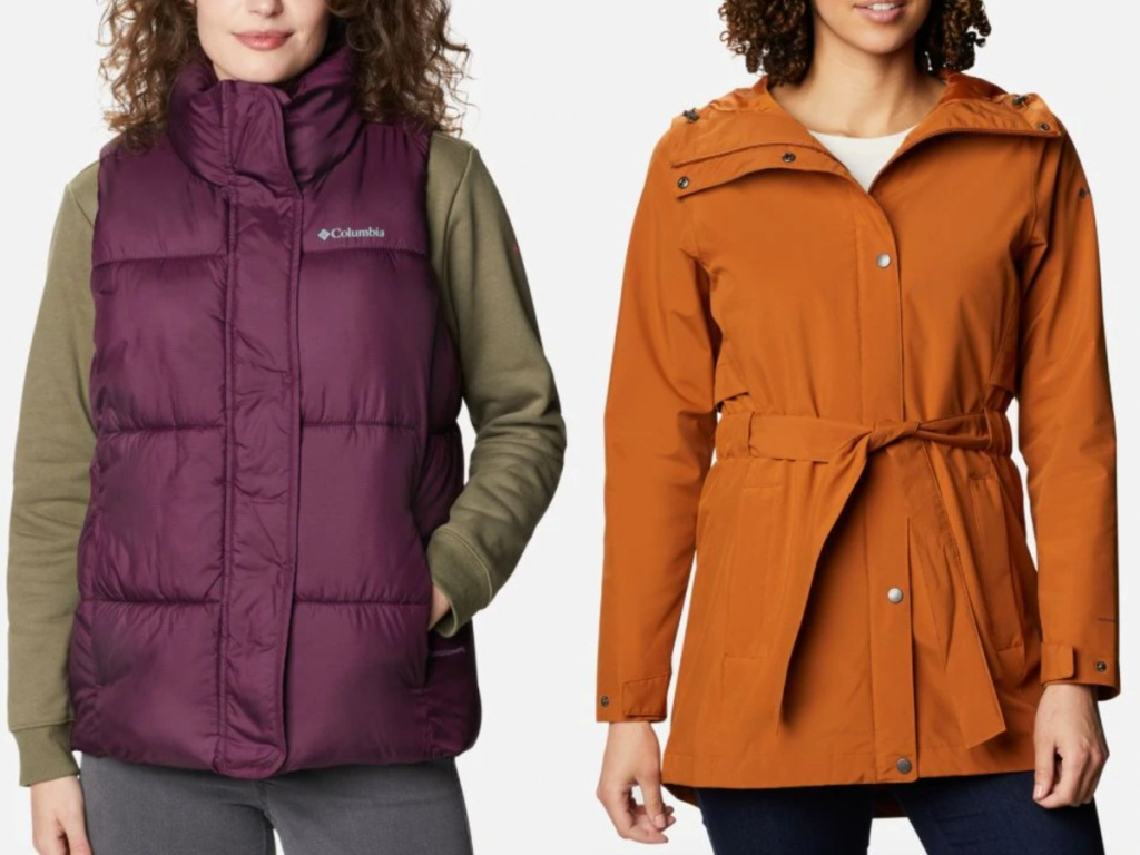 2 women standing next to each other wearing columbia outerwear