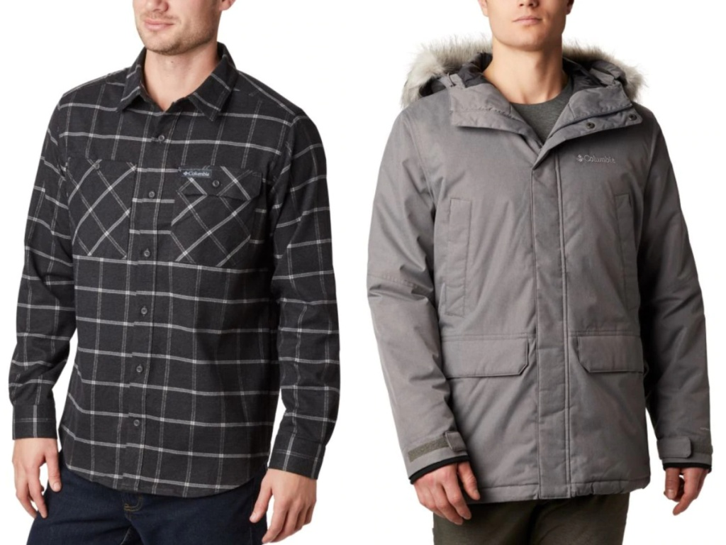 2 men wearing columbia flannel top and outerwear