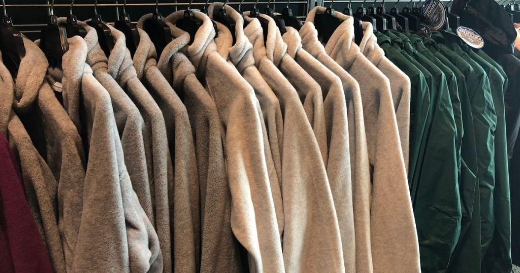 Rack of fleece jackets