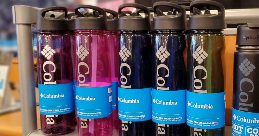 Columbia Water Bottles on shelf