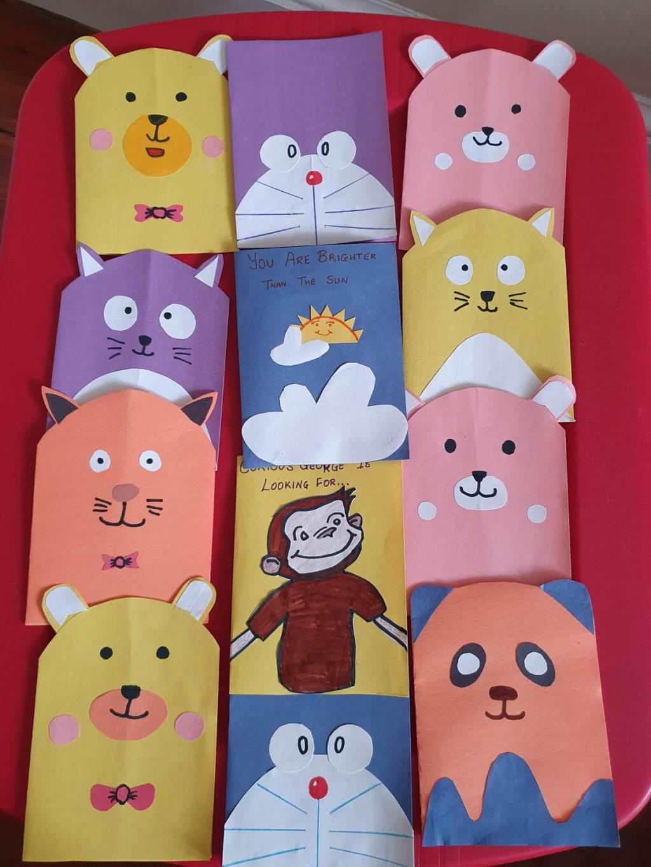 set of handmade cards for kids