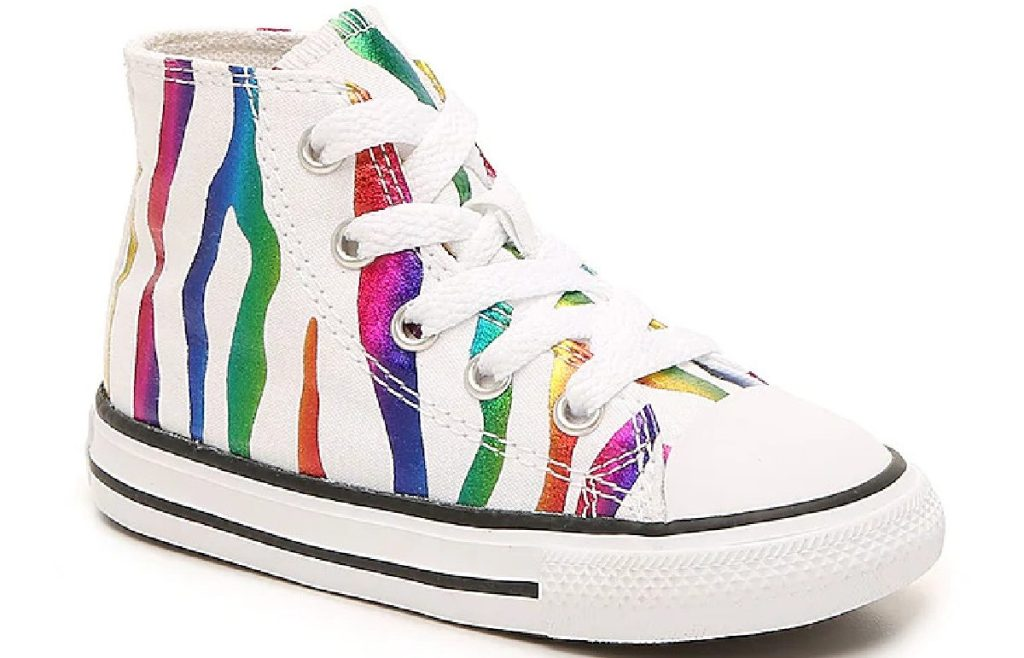 anak-anak sepatu sneaker high top putih dan multi-warna zebra print