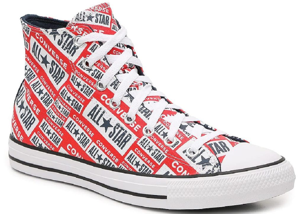 sepatu high top cetak logo merah