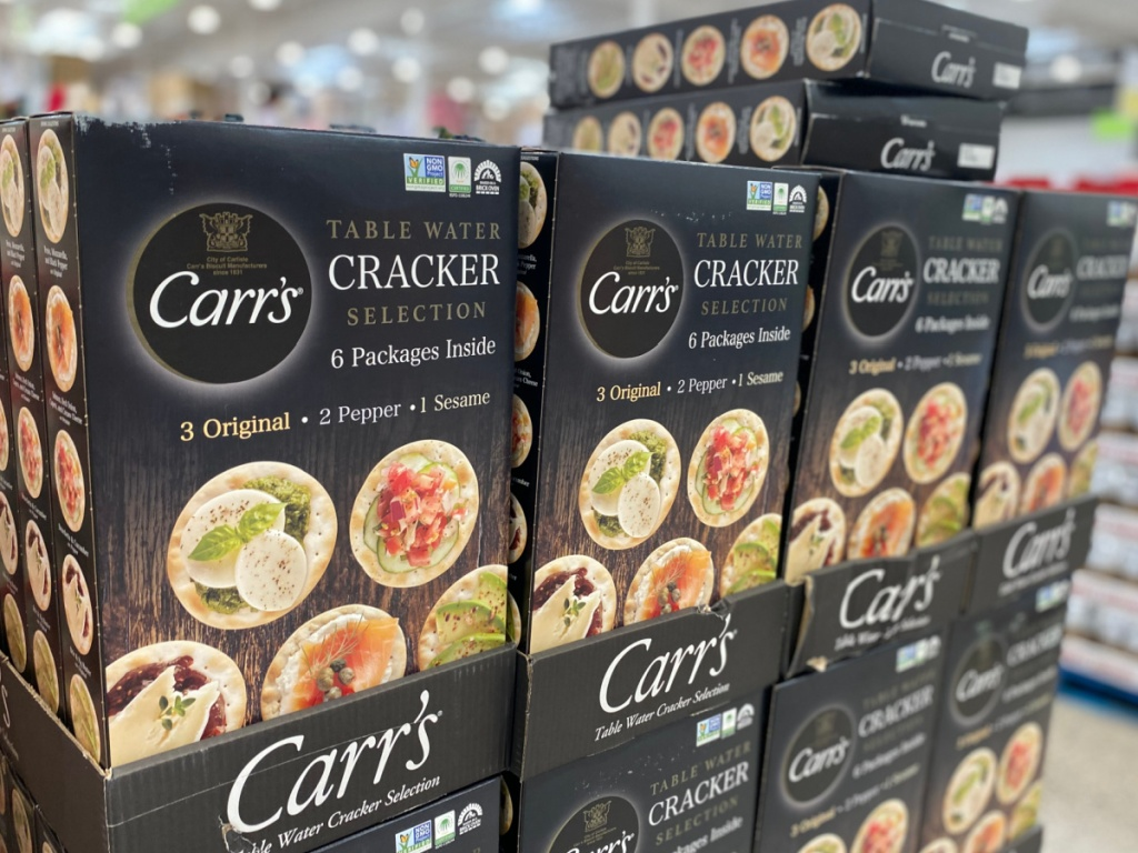carr's crackers boxes in store at costco
