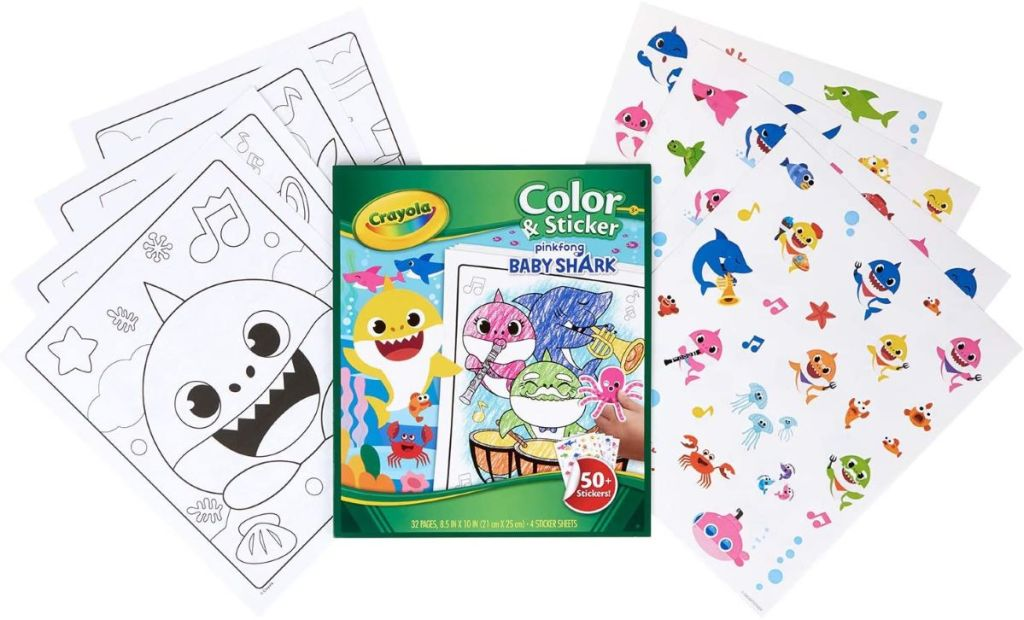 Crayola Color Wonder Baby Shark coloring pages and stickers