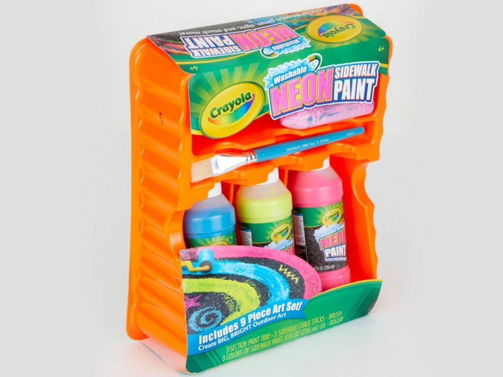Sidewalk paint kit on gray background