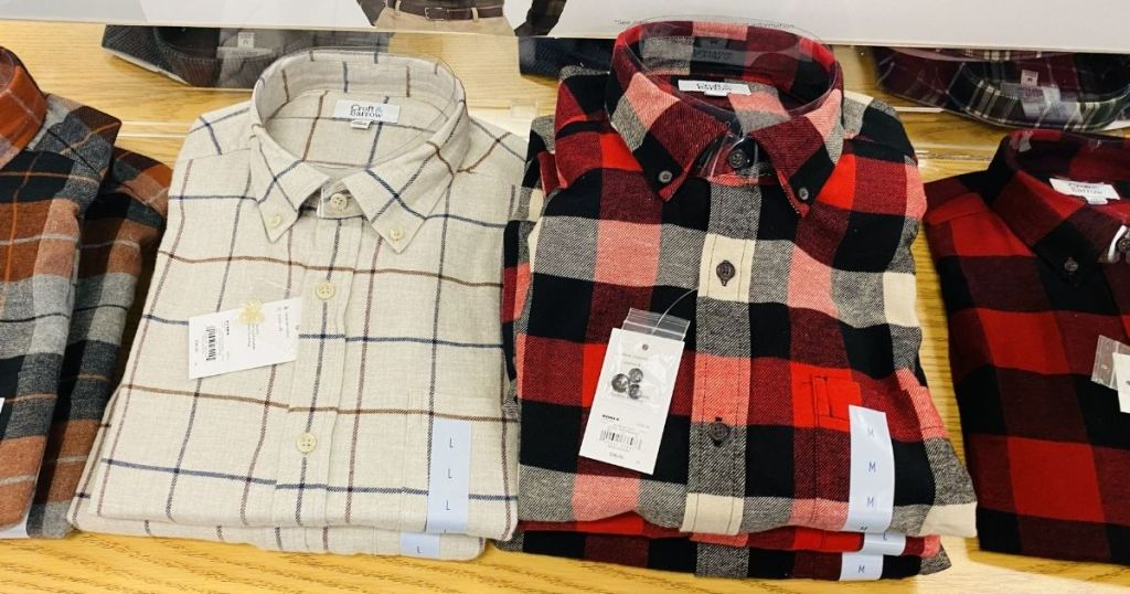 men's flannel shirts on a table