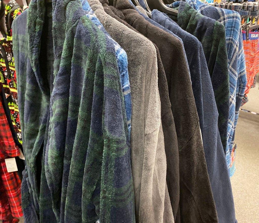 rack of men's plush robes on display at kohl's