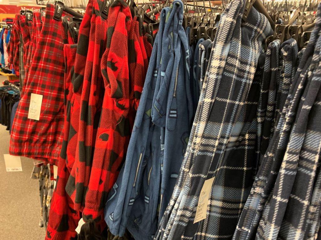rack of pajama pants at Kohl's