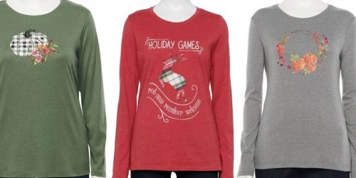 Croft & Barrow Women's Tees Only $4.79 on Kohls.com (Regularly up to $18) | Includes Holiday Prints & Plus Sizes