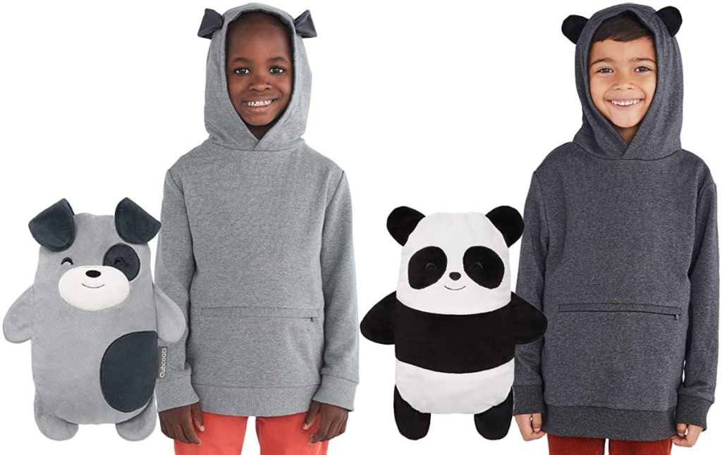 boys wearing Cubcoats 2-in-1 Transforming Pullover Hoodie & Soft Plushie