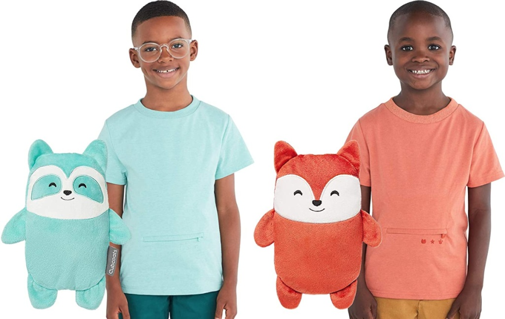 boys wearing Cubcoats 2-in-1 Transforming T-Shirt and Soft Plushie
