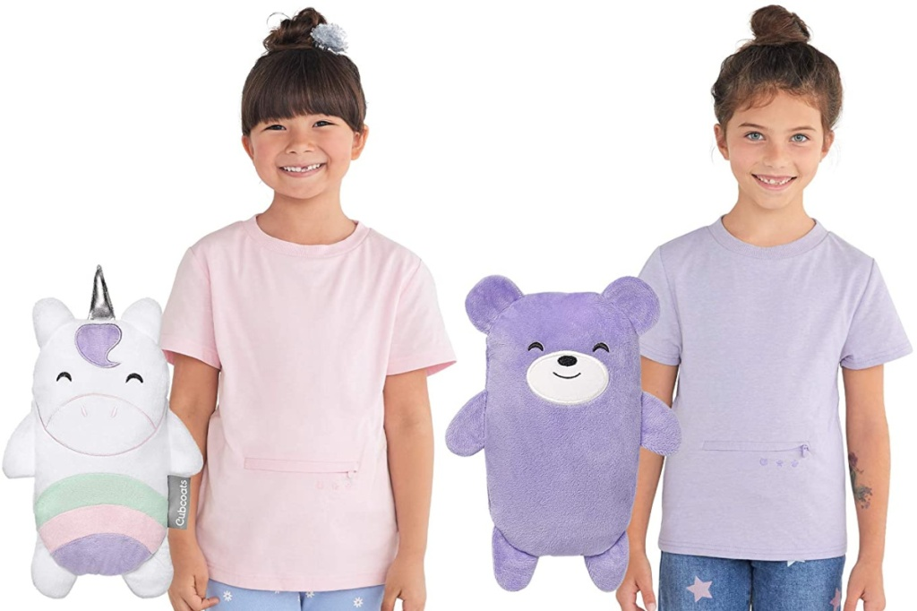 girls wearing Cubcoats 2-in-1 Transforming T-Shirt and Soft Plushie